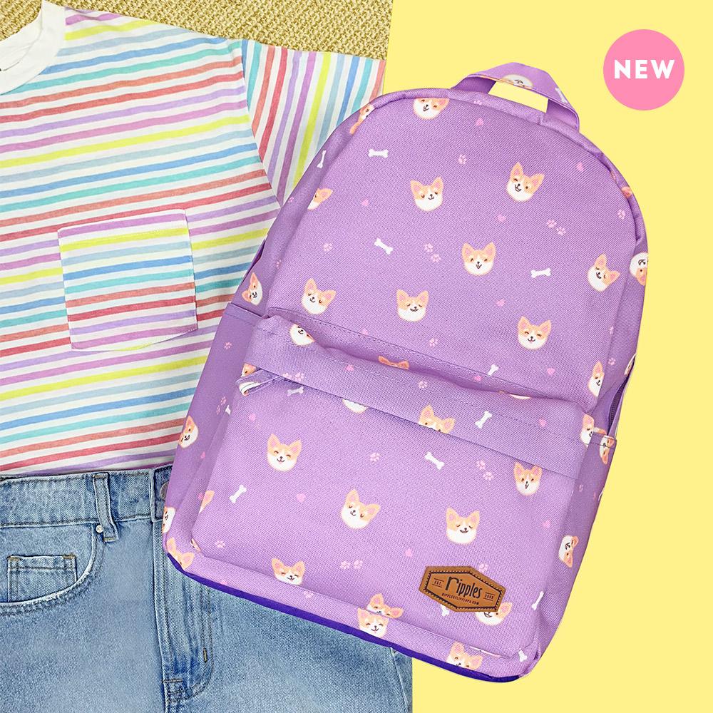 Corgi Dog Mid Sized Kids School Backpack