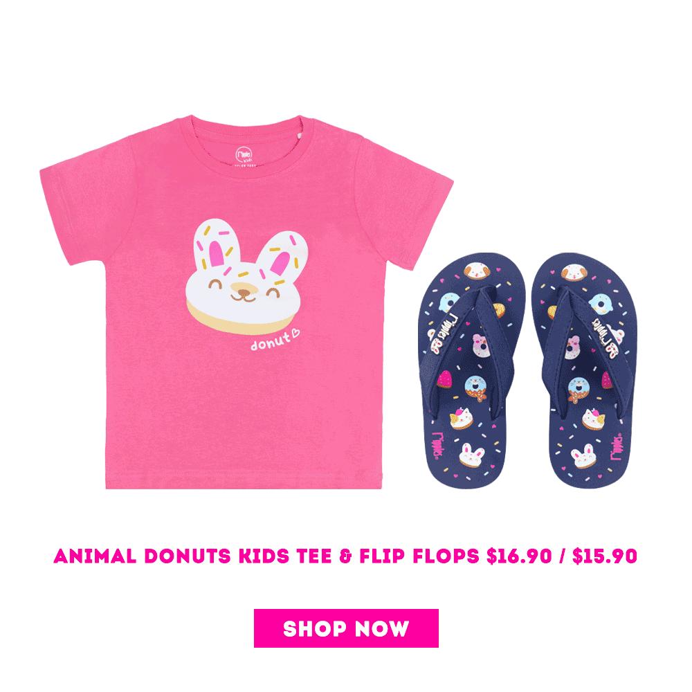 Matching Animal Donuts Kids T-shirt and Flip Flops