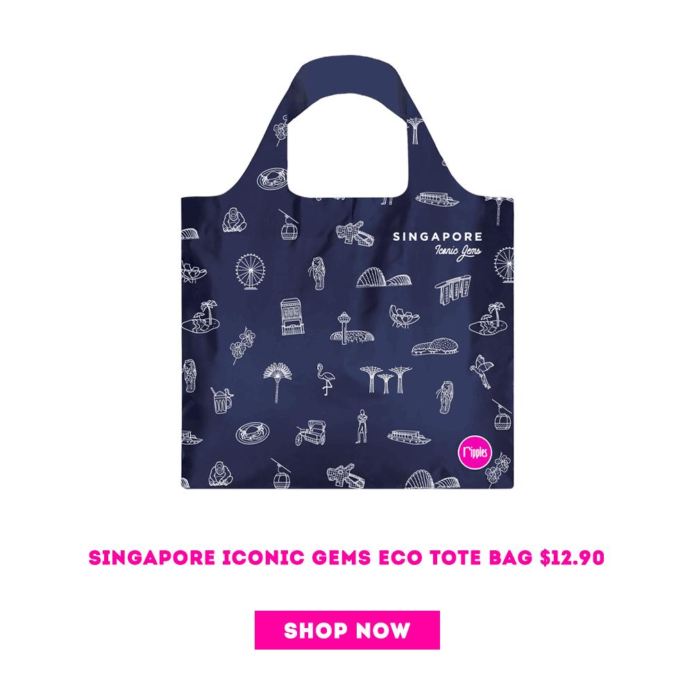 Singapore Iconic Gems Recycle Eco Tote Bag