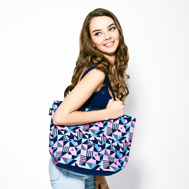 Avery Geometrics Tote Bag (Navy Blue)