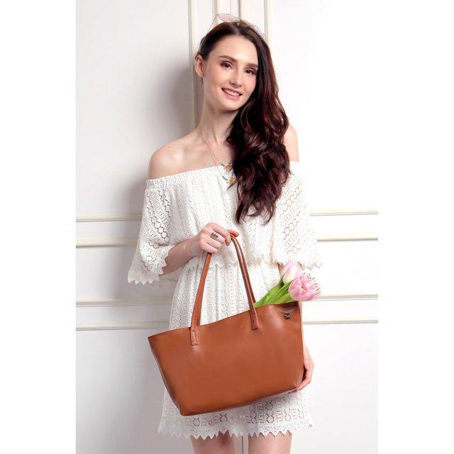 Corrine PU Leather Handbag (Brown)