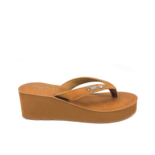 [SALE] Pearlyn Diamond Stud Leather Ladies Sandal Wedges (Brown)