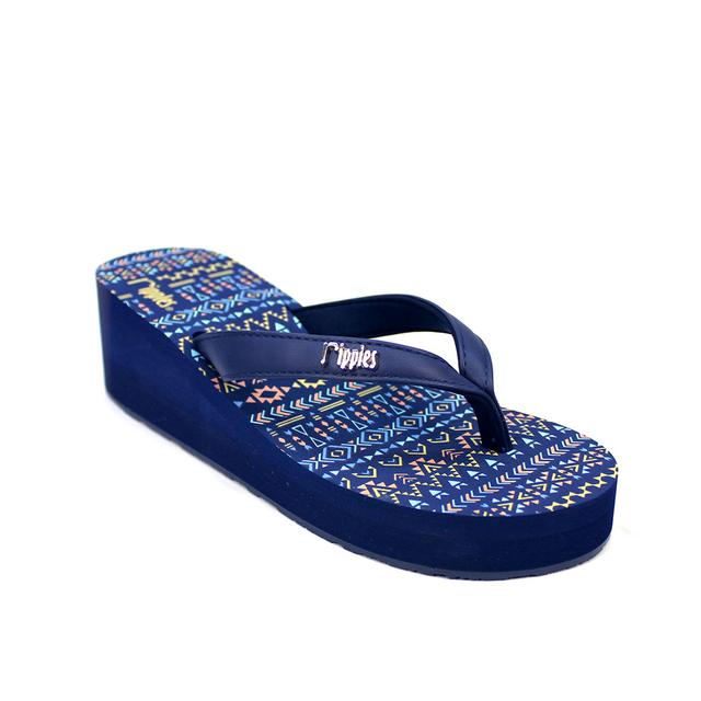 [SALE] Arika Aztec Ladies Wedges (Navy Blue)