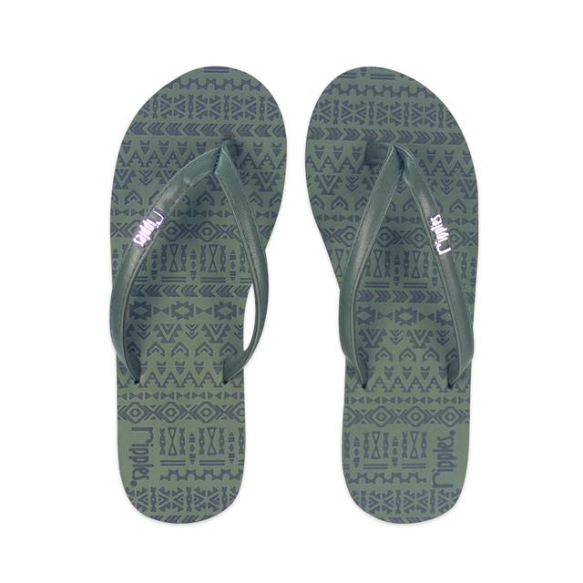 Arika Aztec Laser Ladies Flip Flops (Dark Green)