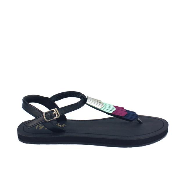 [PROMO] Fringe Laser Cut Slide'N'Style T-Bar Sandals (Silver/Black)