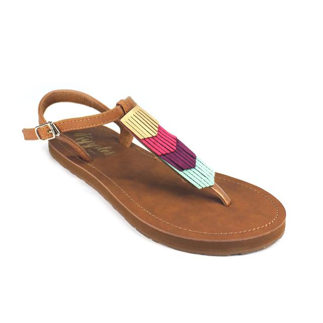 [PROMO] Fringe Laser Cut Slide'N'Style T-Bar Sandals (Gold/Brown)