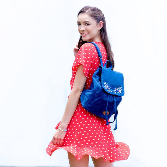 Sweet Garden Floral Embroidery Ladies Backpack (Mid Blue Denim)