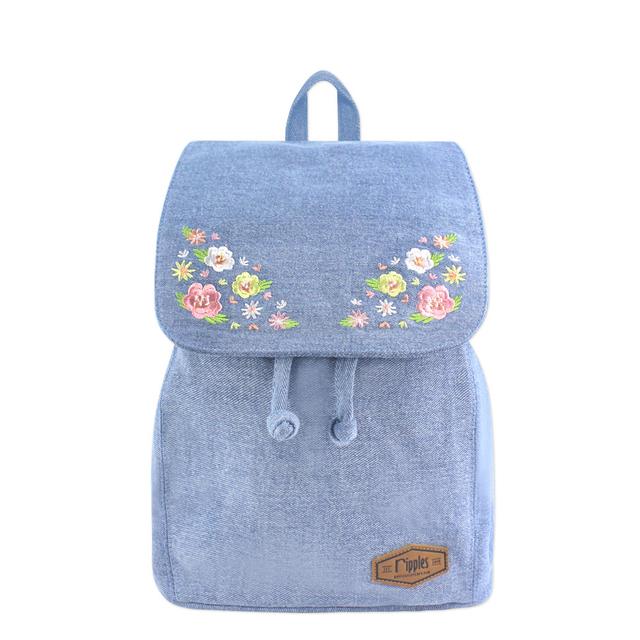 Spring Blossom Floral Embroidery Ladies Backpack (Light Wash Denim)