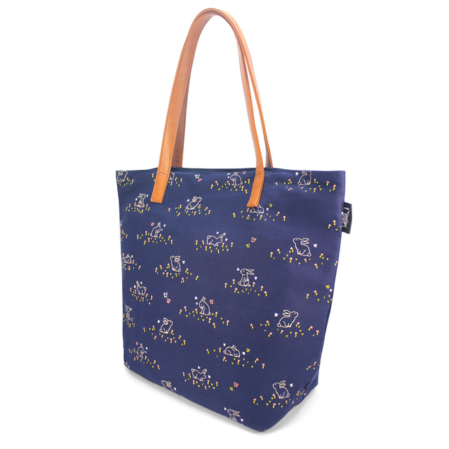 [Limited Time Special] Meadow Rabbits Tote Bag (Navy Blue)