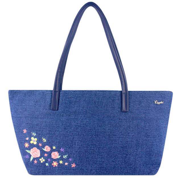 Sweet Garden Floral Embroidery Handbag (Mid Blue Denim)