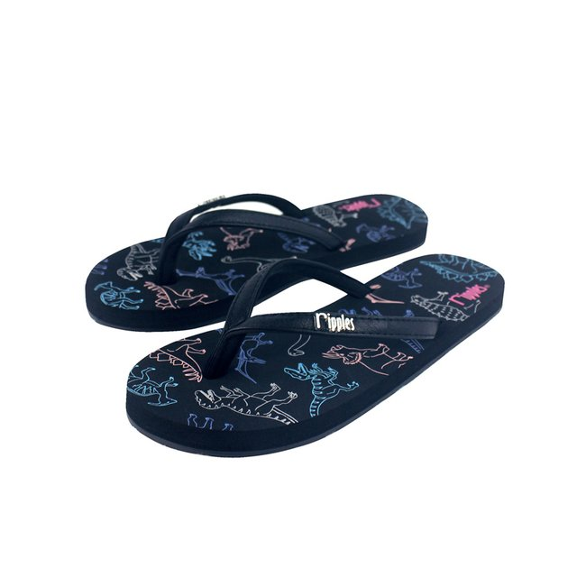 Dinosaurs Flip Flops (Black)