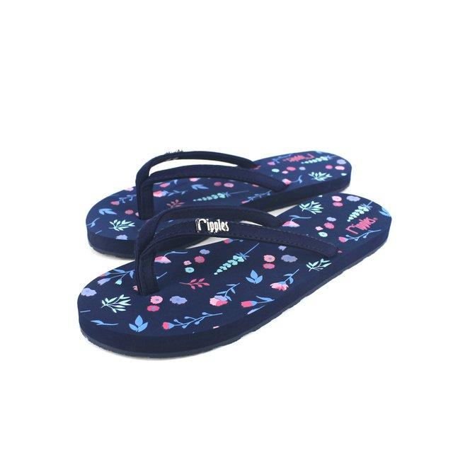 [PROMO] Alyssa Floral Ladies Flip Flops (Navy Blue)