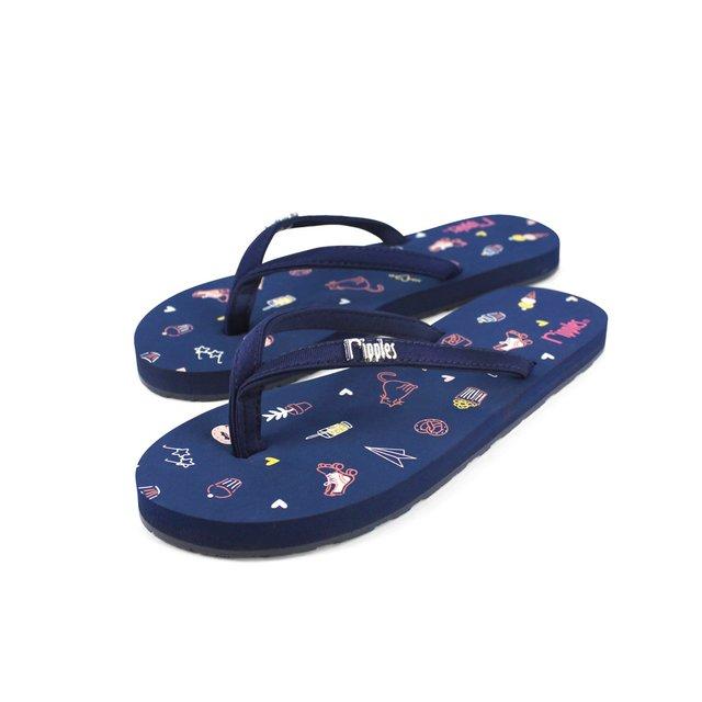 Tiny Things Ladies Flip Flops (Navy Blue)