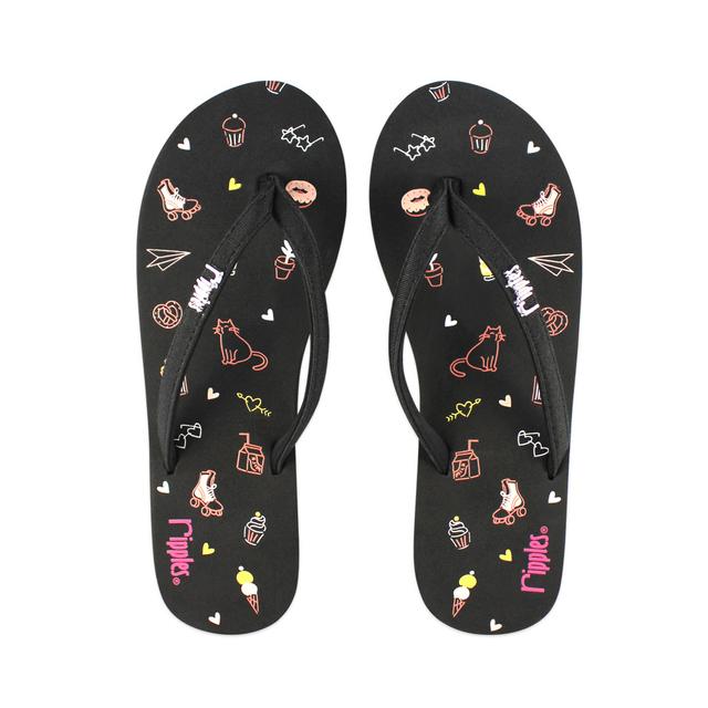 Tiny Things Ladies Flip Flops (Black)