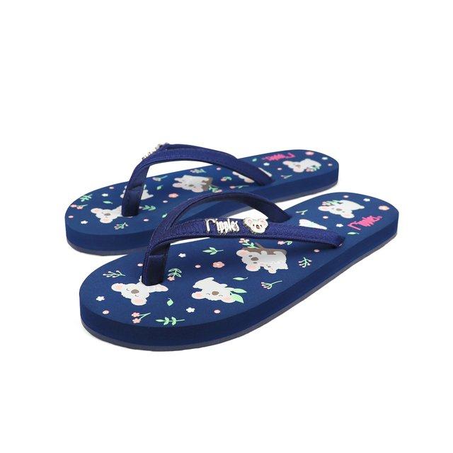 Koala Bear Ladies Flip Flops (Navy Blue)