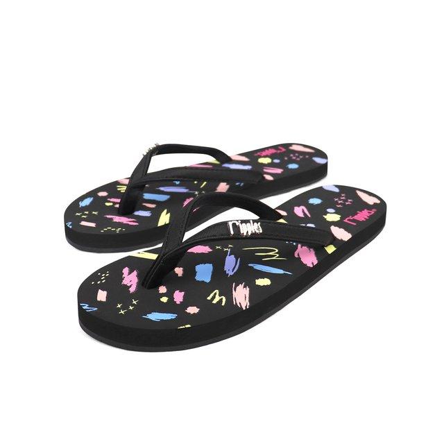 [PROMO] Scribbles Brushstrokes Ladies Flip Flops (Black)