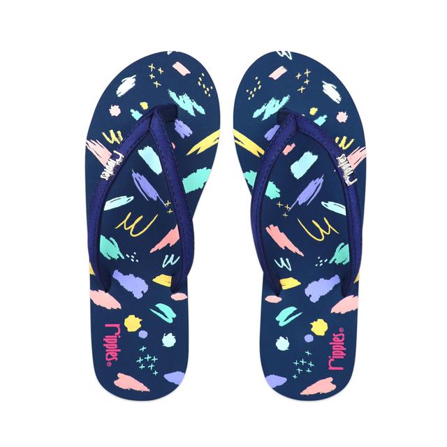 Scribbles Brushstrokes Ladies Flip Flops (Navy Blue)