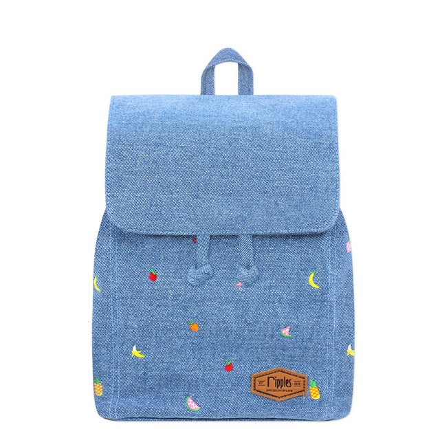 [PROMO] Tropical Fruits Embroidery Ladies Backpack (Light Denim)