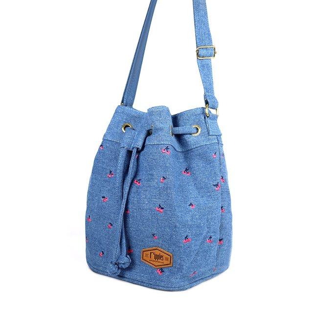 Cherry Embroidery Bucket Sling Bag (Light Wash Denim)
