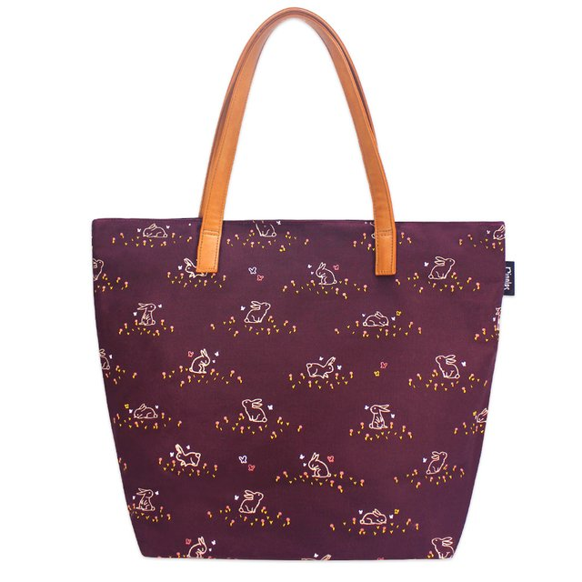 [Limited Time Special] Meadow Rabbits Tote Bag (Maroon)