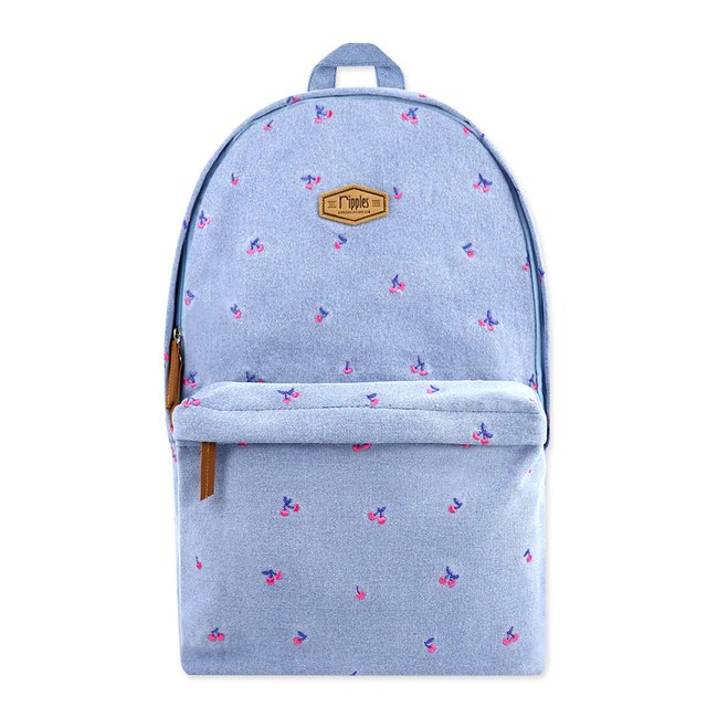 [PROMO] Cherry Embroidery Denim Backpack (Light Wash)