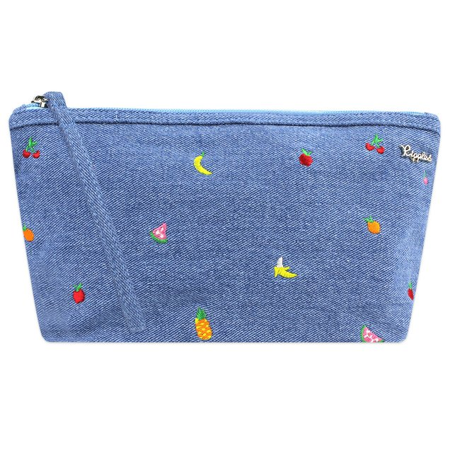 Tropical Fruits Embroidery Denim Cosmetic Pouch (Light Wash)