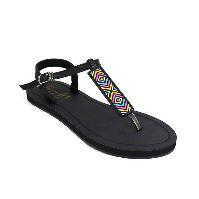 [PROMO] Rica Aztec Slide'N'Style T-Bar Sandals (Black)