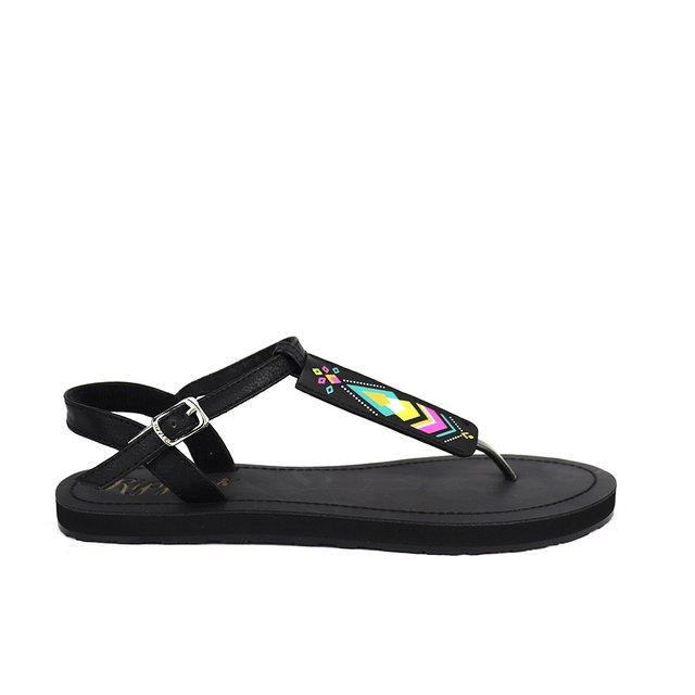 [PROMO] Elena Aztec Slide'N'Style T-Bar Sandals (Black)