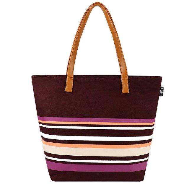 [PROMO] Lynette Stripes Tote Bag (Maroon)