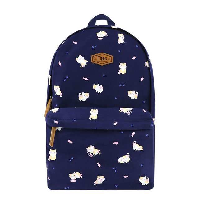 Kittens Canvas Backpack (Navy Blue)