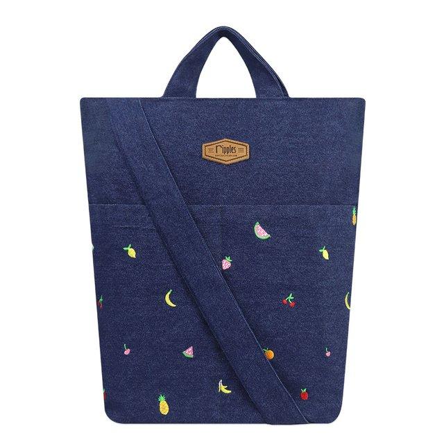 Tropical Fruits Embroidery Denim Sling Bag (Dark Wash)