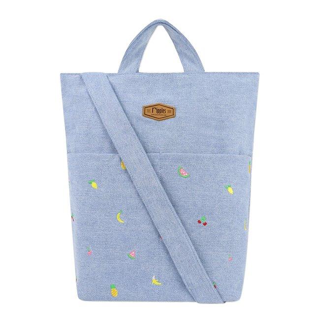 Tropical Fruits Embroidery Denim Sling Bag (Light Wash)