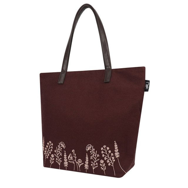 [Limited Time Special] Estella Floral Embroidery Tote Bag (Maroon)