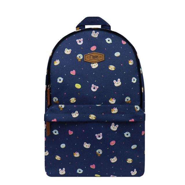 Animal Donuts Digital Print Backpack (Navy Blue)