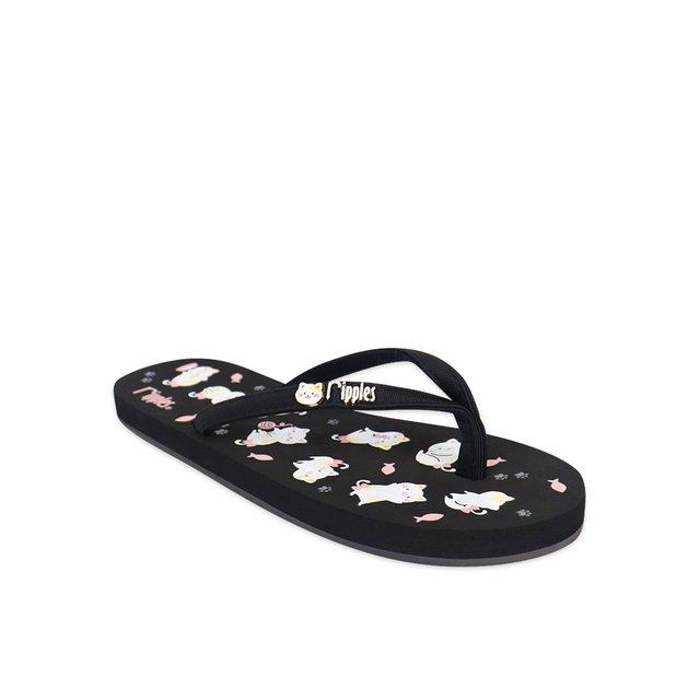 Kittens Ladies Flip Flops (Black)