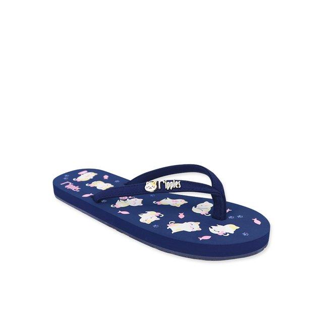 Kittens Ladies Flip Flops (Navy Blue)
