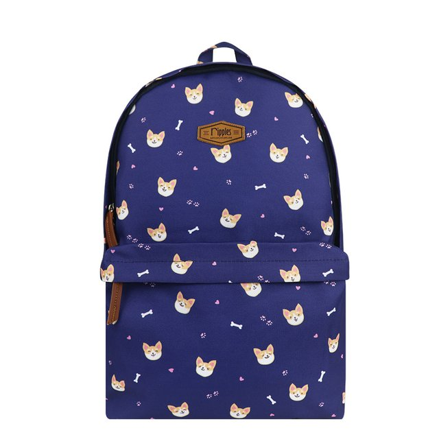 Corgi Dog Digital Print Backpack (Navy Blue)