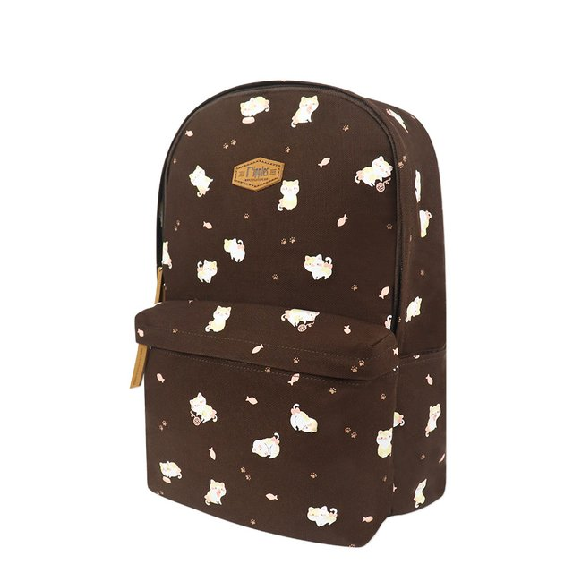 Kittens Canvas Backpack (Brown)