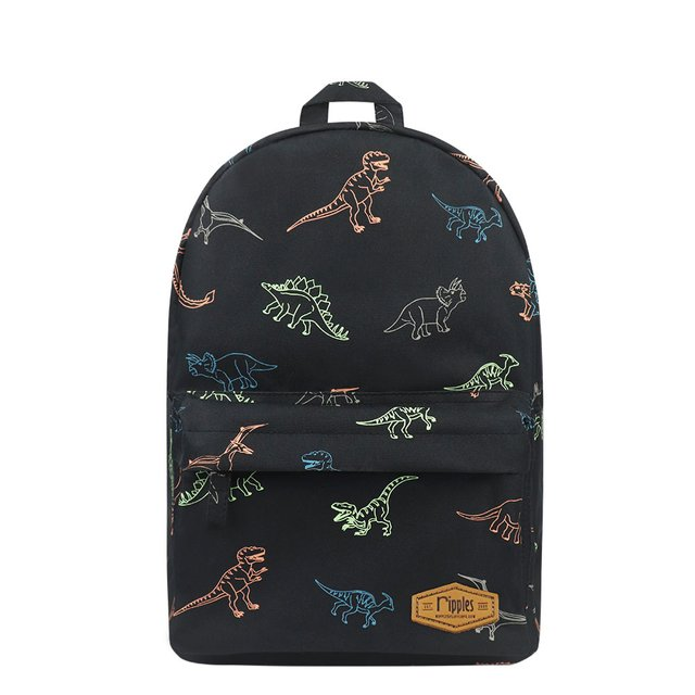 Dinosaurs Mid Sized Kids School Backpack (Black)