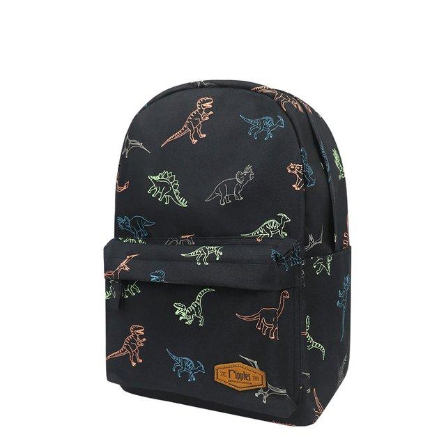 Dinosaurs Mid Sized Kids School Backpack (Black)