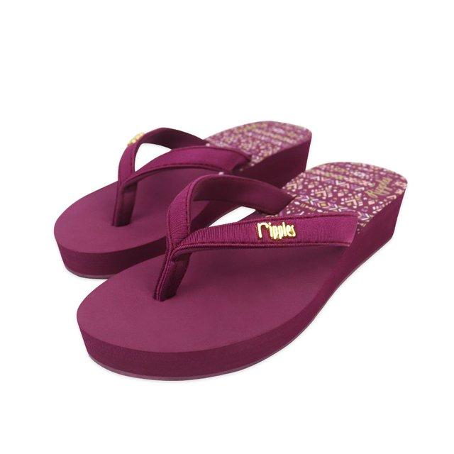 Astrial Aztec Ladies Sandals Mid Wedge (Maroon Purple)