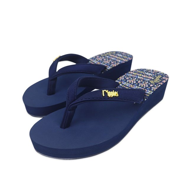 Astrial Aztec Ladies Sandals Mid Wedge (Navy Blue)