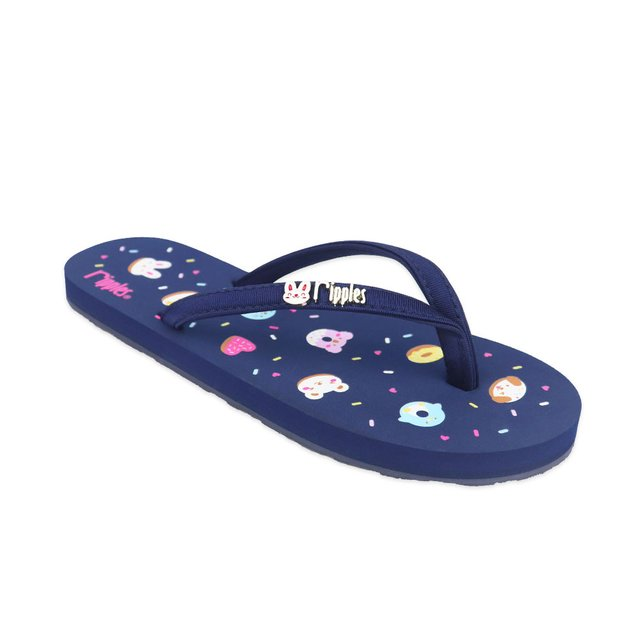 Animal Donuts Ladies Flip Flops (Navy Blue)