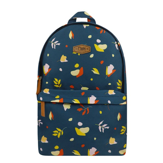 Abstract Leaves Digital Print Backpack (Dark Blue Grey)