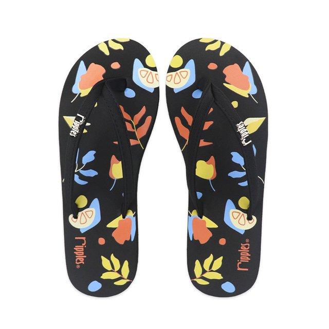 Abstract Leaves Ladies Flip Flops (Black)