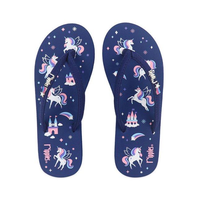 Unicorn Castle Ladies Flip Flops (Navy Blue)