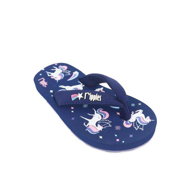 Unicorn Castle Little Kids Flip Flops (Navy Blue)