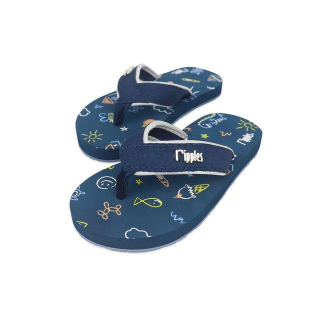 Doodle Little Kids Flip Flops (Grey Blue)