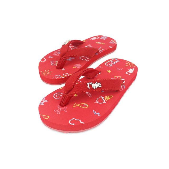 Doodle Little Kids Flip Flops (Red)